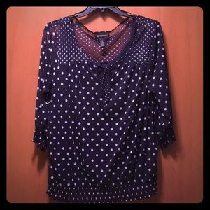 Women's INC Navy Blue Polka Dot Top